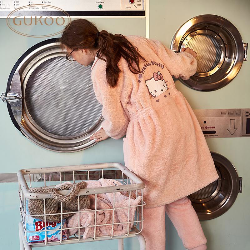 果壳正品Hello Kitty睡衣女冬季珊瑚绒可爱居家服长款开衫家居服