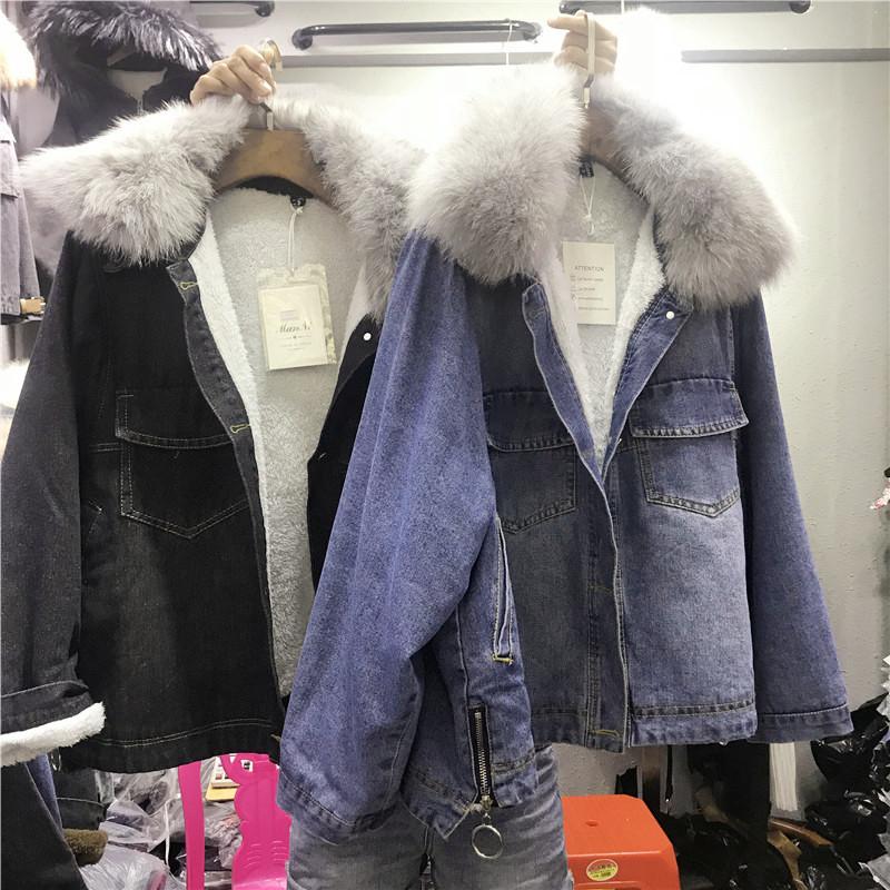韩版大毛领牛仔外套女冬季加绒加厚宽松短款羊羔毛百搭学生牛仔衣