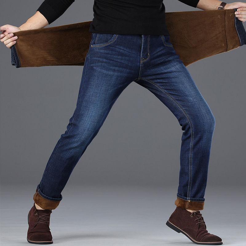 冬季加绒加厚牛仔裤男士宽松直筒弹力休闲裤保暖男装秋冬款长裤