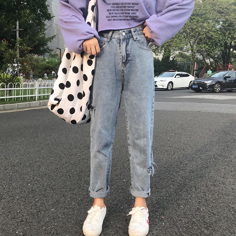 秋装女2018新款韩版学生高腰宽松破洞牛仔阔腿裤时尚直筒长裤子潮