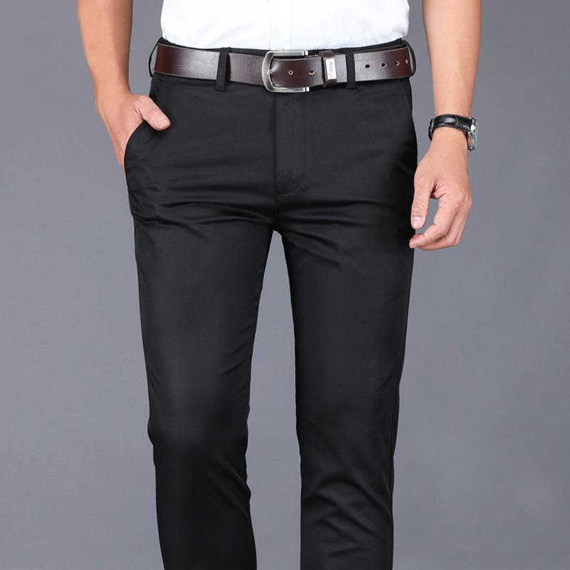 西裤男修身西装裤商务正装西服职业黑色男西裤直筒宽松休闲长裤子