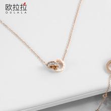 罗马字微hz1锆石项链pk锁骨链轻奢(小)众颈链简约气质吊坠饰品