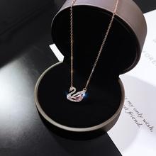粉色(小)天鹅项链女jz5款简约学91坠气质锁骨链18k玫瑰金饰品