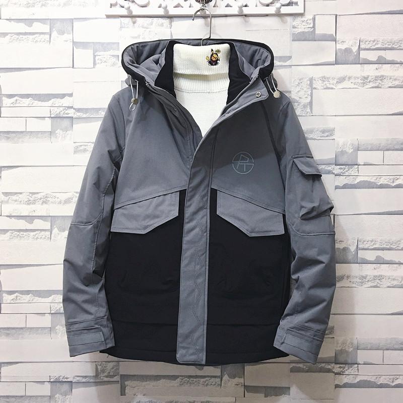 砖块挂拍加厚保暖工装外套男连帽棉衣A073-MY608-P185灰色