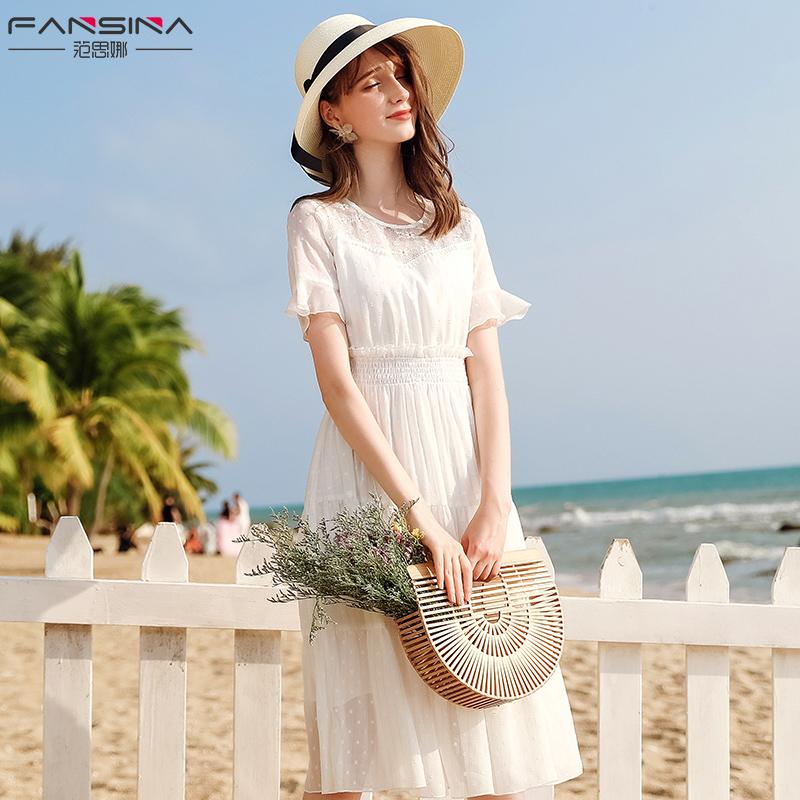 白色波点连衣裙女仙气质小清新2019新款夏季拼接雪纺裙子显瘦长裙