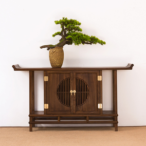New Chinese style porch cabinet solid wood partition porch table decoration living room bar leaning against a wall case Taiwan Zen end view platform for table