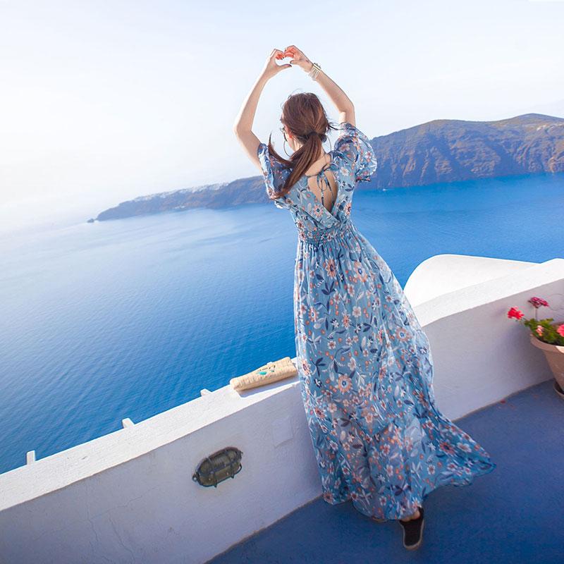 点击查看商品:沙滩裙女夏2018新款大码海边度假显瘦长裙波西米亚三亚雪纺连衣裙