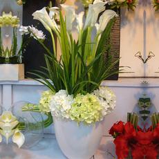 欧式田园马蹄莲客厅样板房装饰大型仿真花落地花瓶套装假花摆花艺