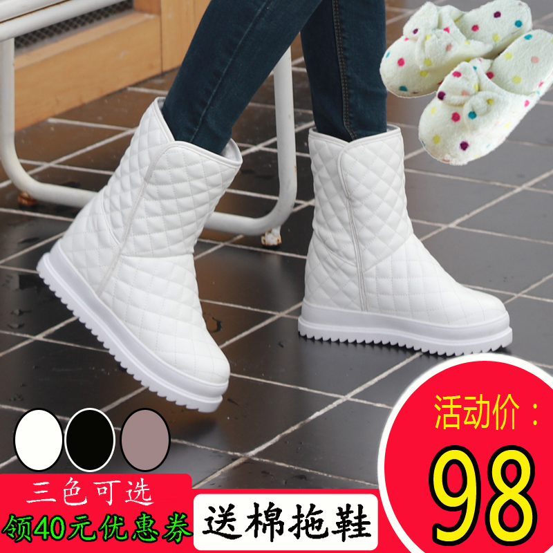 2017冬季雪地靴女中筒保暖加绒防水短筒白色一脚蹬棉鞋内增高女靴