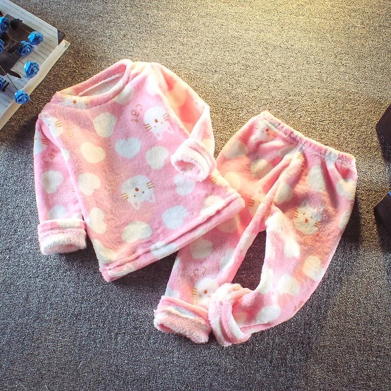 童装婴儿套装秋睡衣宝宝男童秋冬法兰绒女童冬装儿童珊瑚绒家居服