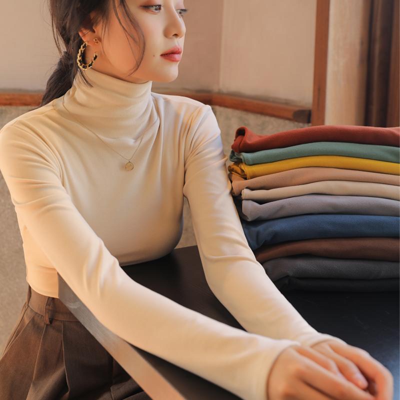 双面德绒堆堆半高领发热打底衫女内搭秋冬季洋气白色加绒加厚长袖满39元减10元