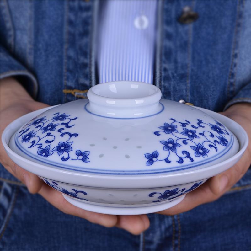 景德镇中式陶瓷创意盘子带盖子家用圆形组合微波炉适用青花瓷菜盘