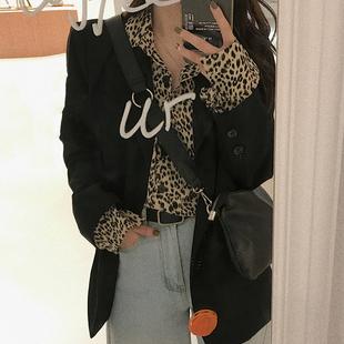 复古豹纹长袖衬衫女秋季2020新款韩版宽松外搭上衣设计感小众衬衣图片