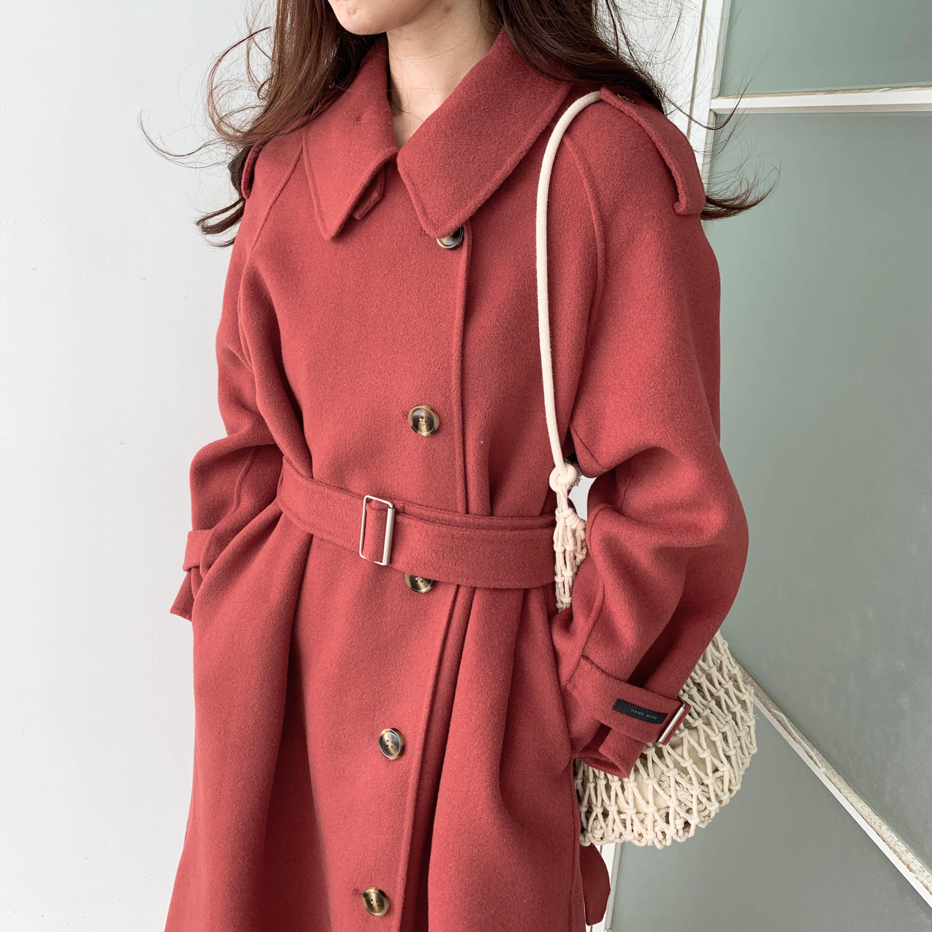 韩版原创手缝羊毛大衣女双面柔软长款2019时尚新款显瘦气质外套