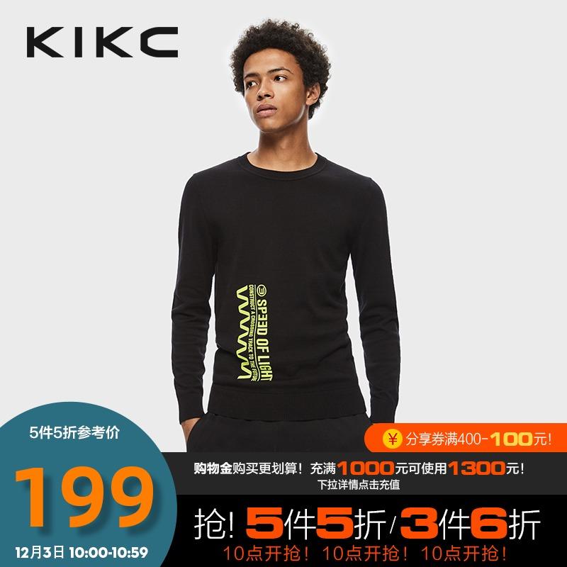 kikc男装秋冬季字母印花长袖毛衣圆领外穿潮流款针织衫宽松上衣
