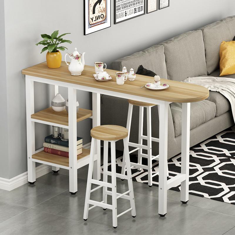 简约现代客厅隔断吧台桌带柜靠墙高脚桌椅家用酒吧台奶茶店餐桌