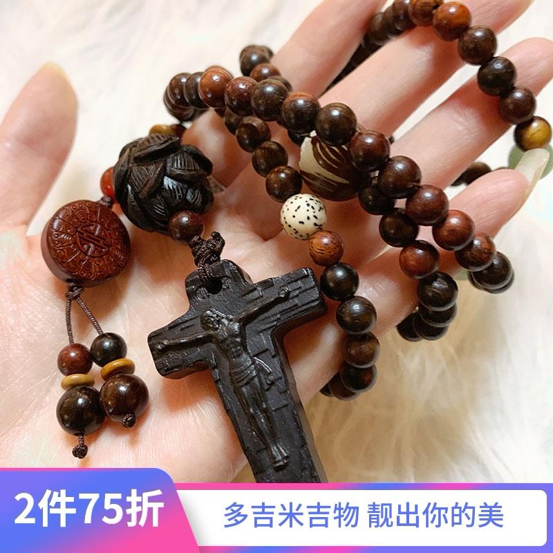 十字架项链男女款耶稣黑色复古檀木质头嘻哈吊坠挂饰品毛衣链长款