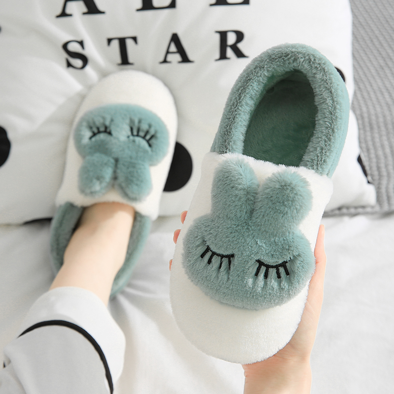棉拖鞋女秋冬季包跟室内家用保暖情侣家居可爱毛绒厚底月子冬天男