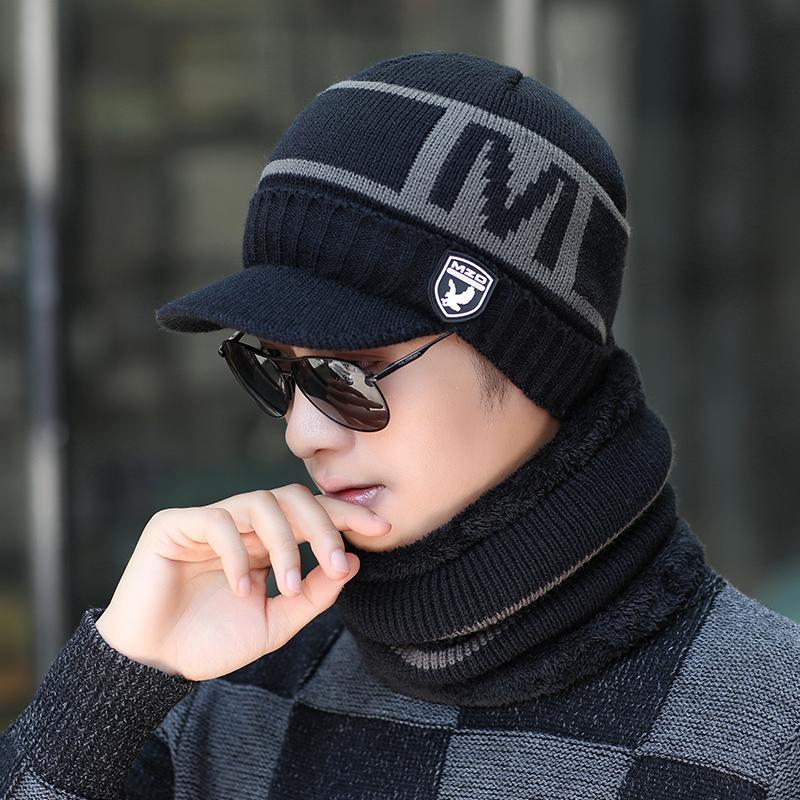 男士帽子冬季保暖毛线帽青年韩版冬天护耳针织帽加绒加厚套头棉帽
