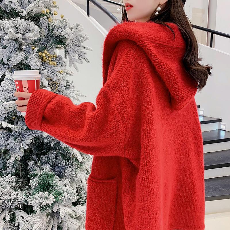 红色毛衣女宽松春装2019新款长款外套很仙的针织开衫洋气上衣百搭