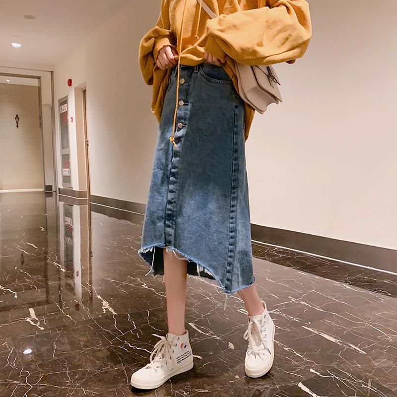 中长款牛仔半身裙女2019新款春夏装ins超火的裙子百搭仙女一步裙