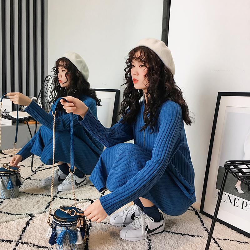 【新品减10】2018秋装新款韩版潮宽松拉链立领毛衣连衣裙长款过膝