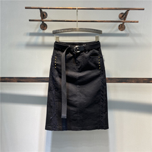 欧洲站jq0021春zp色显瘦蕾丝边钉珠高腰牛仔裙半身裙包臀中裙