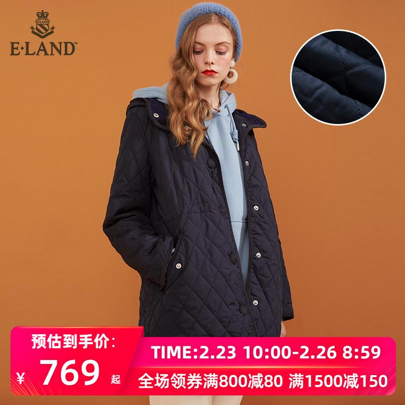 ELAND2019秋冬新款格纹压面立领连帽棉服女短款外套EEJP949C2
