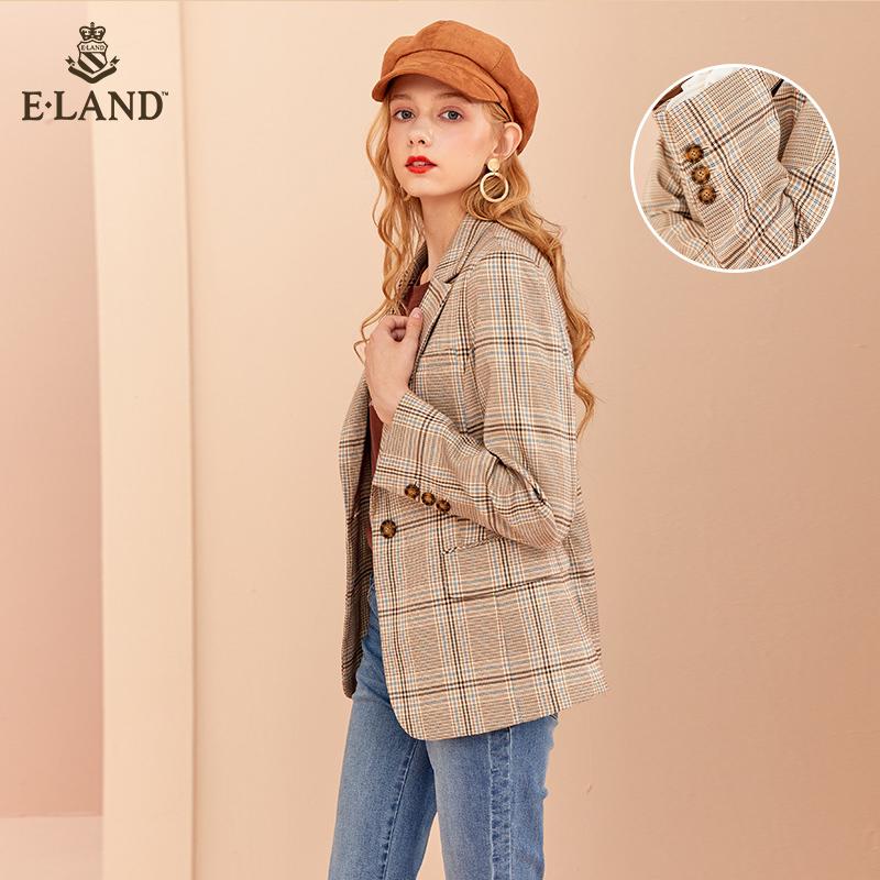 ELAND2019秋季新款英伦通勤风格纹长袖休闲西装外套女EEJK988Q2I