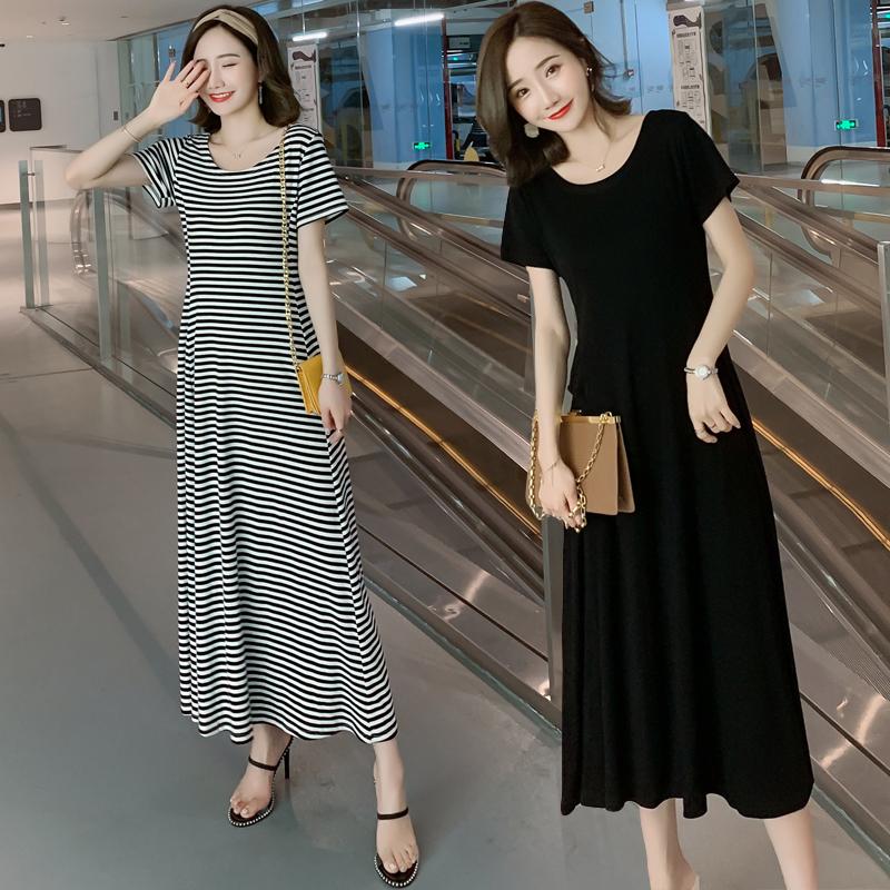 孕妇装夏装2020新款韩版短袖莫代尔孕妇连衣裙夏季中长款孕妇裙子