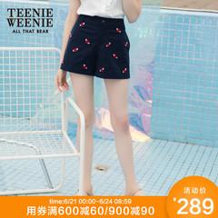 Teenie Weenie小熊夏女装刺绣休闲短裤女宽松TTTH82612A
