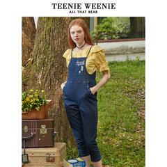 TeenieWeenie小熊2019夏季新款女装绣线字母熊高腰九分背带牛仔裤