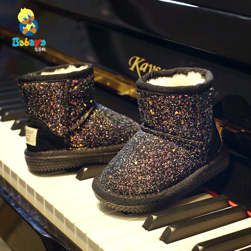 芭芭鸭儿童雪地靴2017冬季新款加绒加厚冬鞋男童中筒靴子女童鞋子