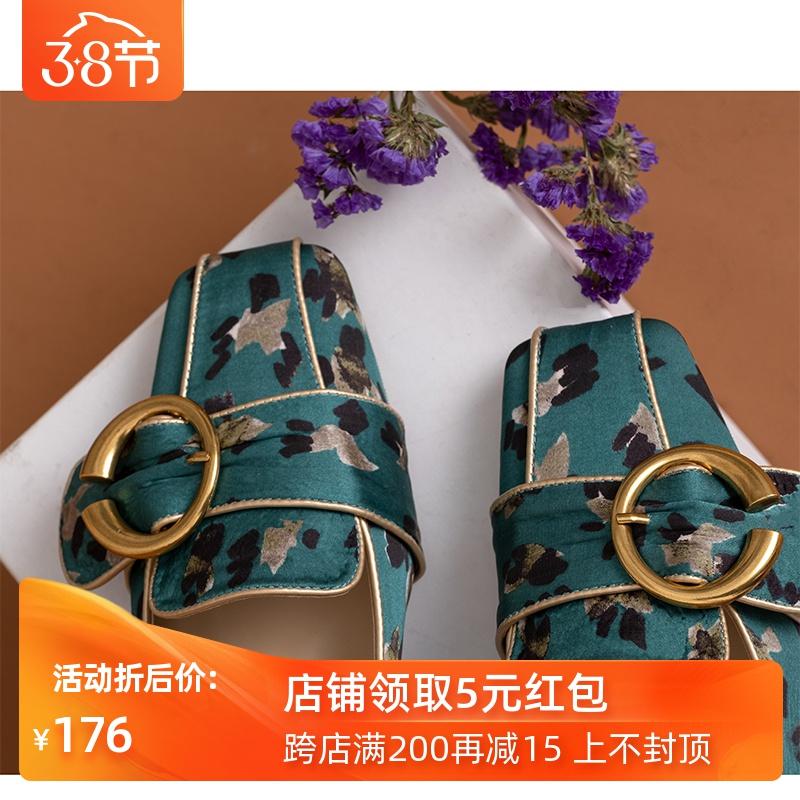 DEZU自制/得足少女 2020开春复古vintage印花方头低跟单鞋