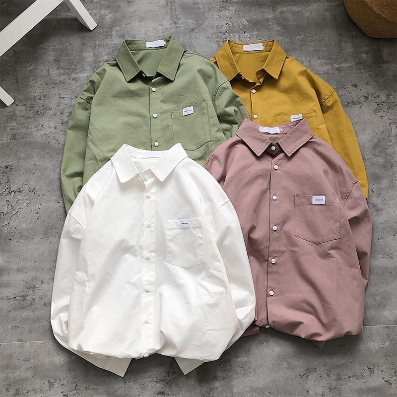 帅气工装衬衫男潮韩版潮流设计感港风很仙的上衣长袖衬衣外套