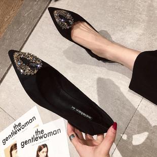 单鞋女2020年夏百搭新款水钻尖头鞋3CM中跟鞋粗跟职业工作鞋黑色