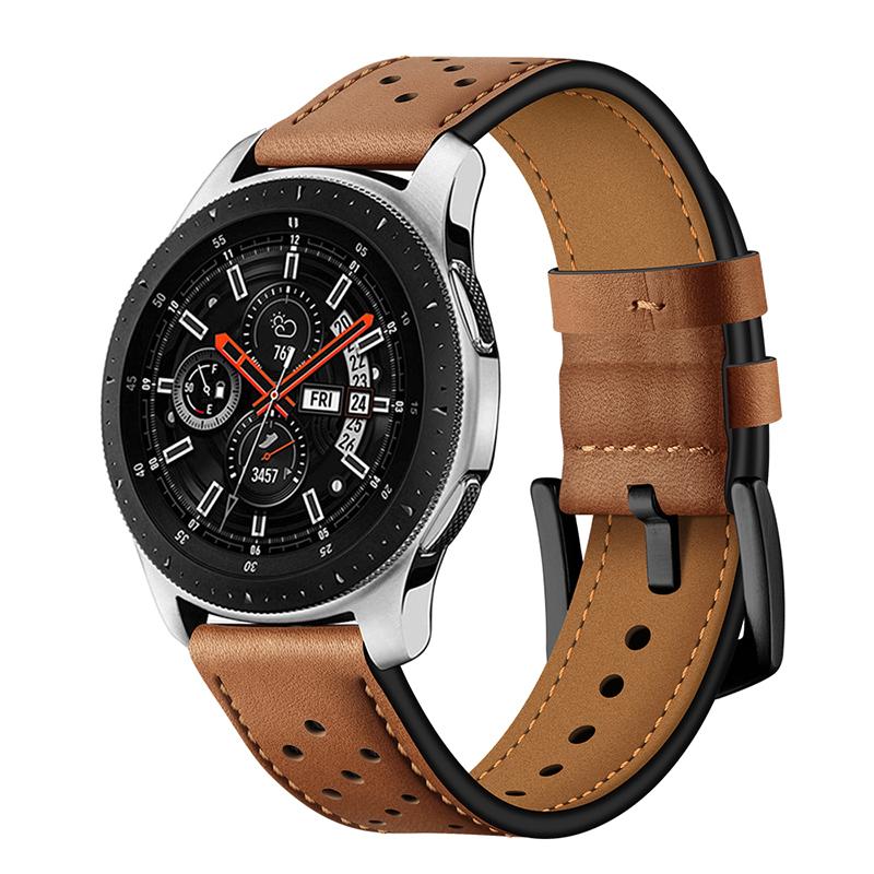 适用华为watch 2代/GT华米米动青春版tic watch1/2代/E/pro系列皮质腕带moto 360 二代新款皮质表带