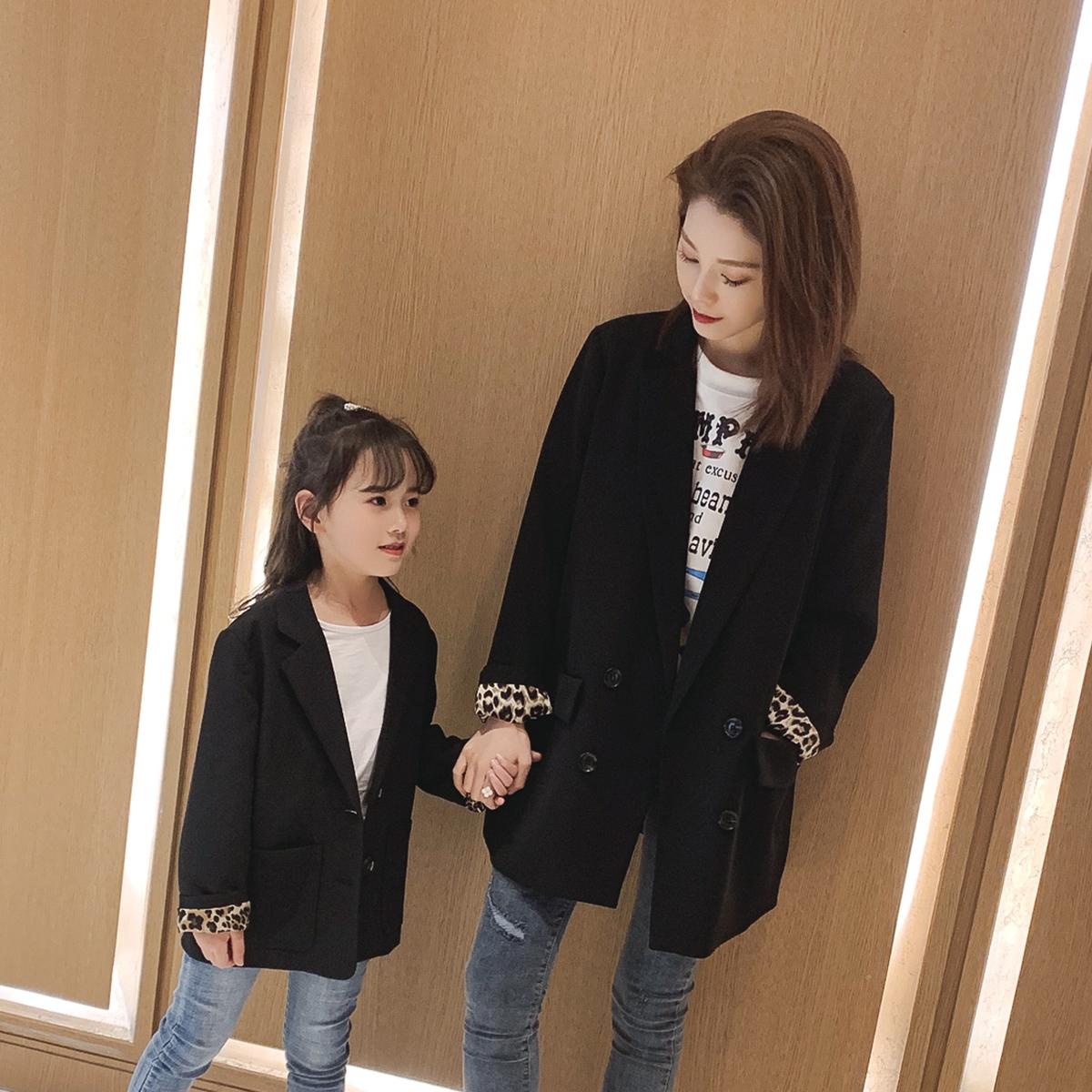 女童春装2019新款洋气袖口豹纹翻边亲子装时尚韩版西装外套母女装