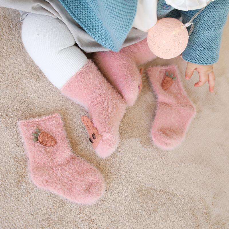 2双装秋冬新款加绒加厚保暖婴儿袜子宝宝保暖袜子儿童宝宝袜子