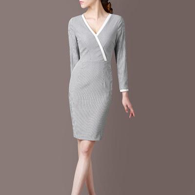 2017秋装新款女装 V领长袖修身显瘦中长款条纹拼接职业连衣裙