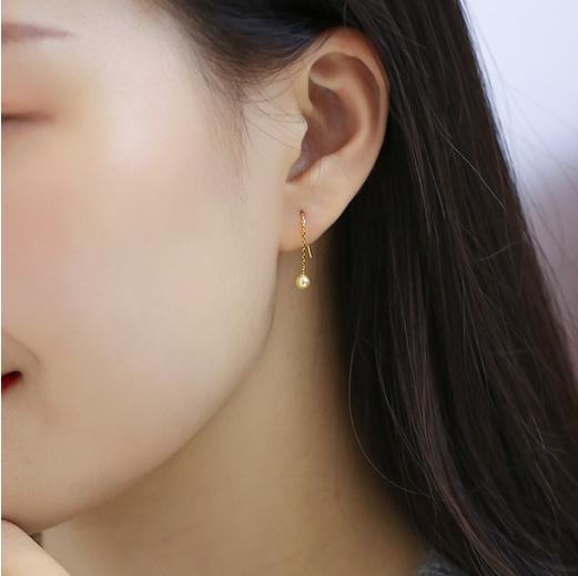 美琪珍珠3.5-4mm强亮泽圆金色akoya海水珍珠耳钉女迷你18K金耳线