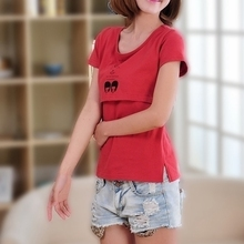 哺乳衣纯xi1短袖夏装an潮妈显瘦T恤产后月子服喂奶衣上衣