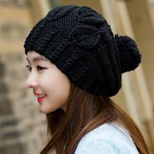 帽子女秋冬百ai3韩款潮流st季保暖加厚冷帽针织帽圆脸适合的