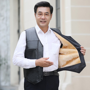 2019 new middle-aged men's clothing plus velvet leather vest