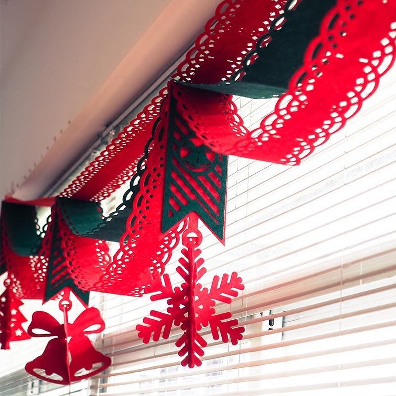 圣诞节波浪旗装饰品圣诞树雪花环摆件贴纸圣诞老人挂饰场景布置