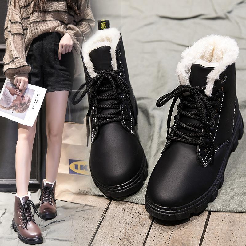 2018冬季新款马丁靴女加绒英伦风保暖短筒雪地靴百搭韩版学生棉鞋