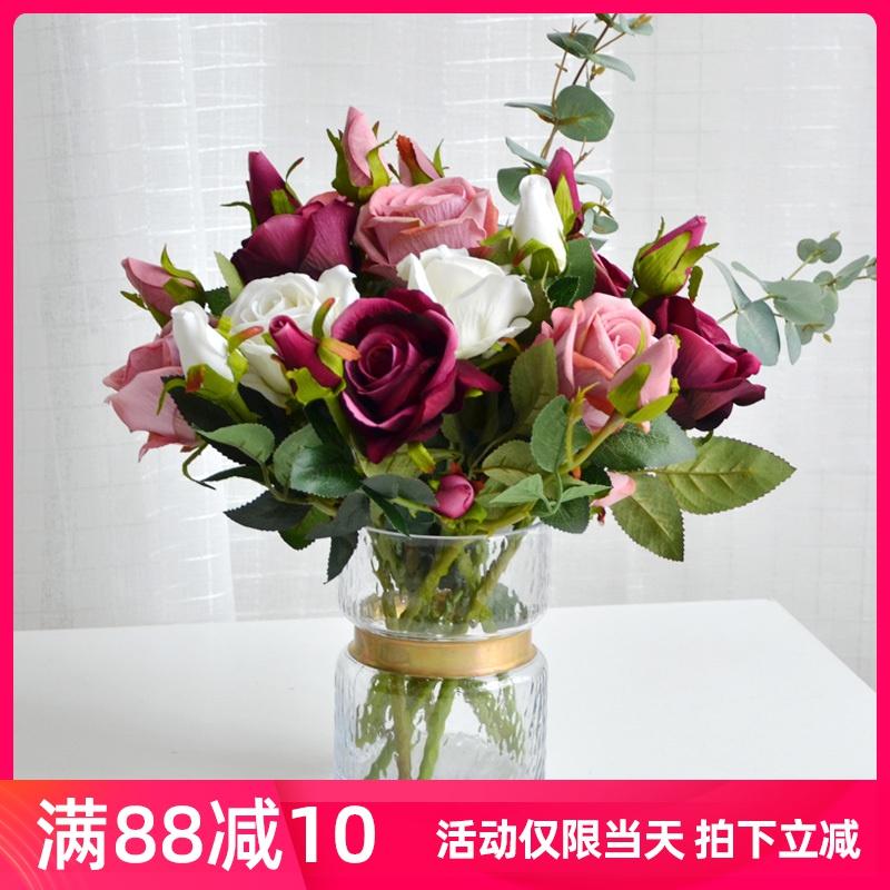 玫瑰花束仿真花绢花塑料花假花干花摆件室内客厅餐桌花艺摆设装饰