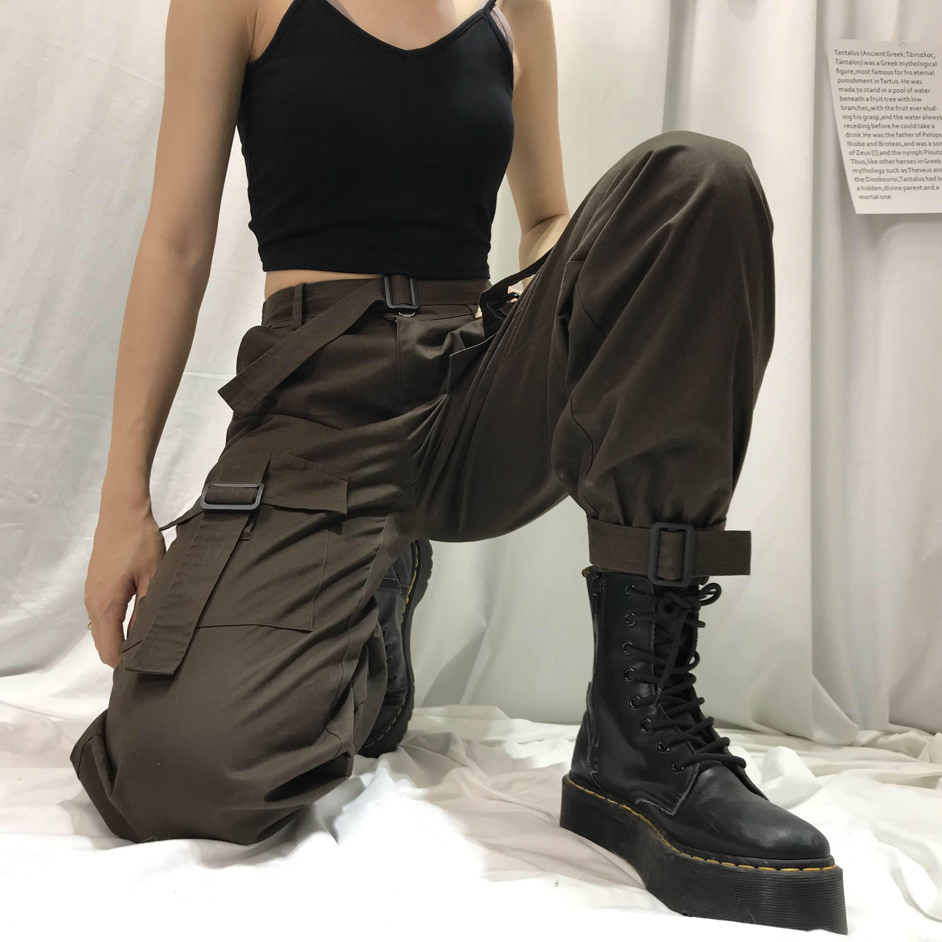 女装bf宽松显瘦性感高腰街头风工装裤女夏新款百搭ins卡扣缩脚裤