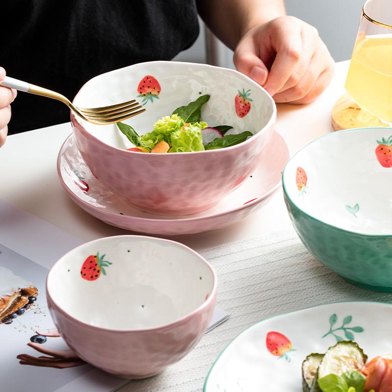 日式餐具碗盘家用碗可爱少女心创意个性陶瓷碗单个饭碗碗碟套装吃