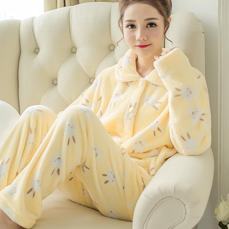 秋冬季加厚款珊瑚绒睡衣女套装家居服加绒可爱法兰绒长袖开衫大码